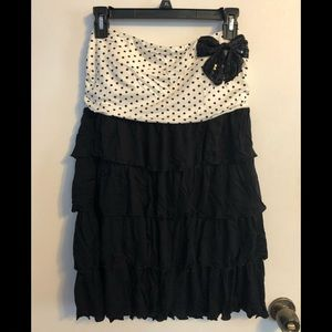 NWT Black & White Polkadot Strapless Dress